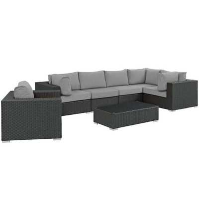 SOJOURN 7 PIECE OUTDOOR PATIO SUNBRELLA® SECTIONAL SET IN CANVAS GRAY - Modway Furniture