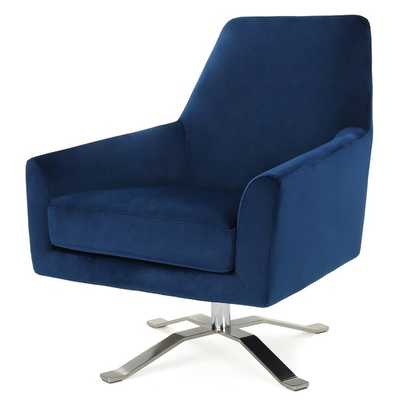 "Navy Blue Edmund Swivel 22"" Armchair - Wayfair"