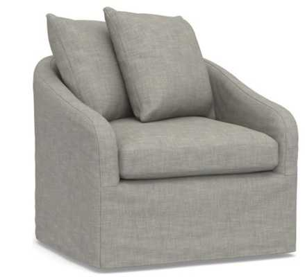 Anniston Upholstered Swivel Armchair, Down Blend Wrapped Cushions, Premium Performance Basketweave Light Gray - Pottery Barn