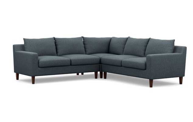 """105"""" Sloan Corner Sectional in Rain Fabric with tapered square oiled walnut legs - Interior Define"""