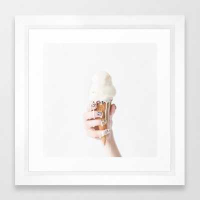 Melting Ice Cream - 10x12 - Vector White Frame - Society6