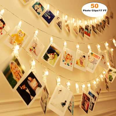 MZD8391 [Upgraded] 50 Photo Clips String Lights/Holder, Indoor Fairy String Lights for Hanging Photos Pictures Christmas Cards, Photo Clip Holder for Bedroom Christmas Decoration - Amazon