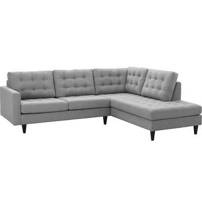 EMPRESS 2 PIECE UPHOLSTERED FABRIC RIGHT FACING BUMPER SECTIONAL IN LIGHT GRAY - Modway Furniture
