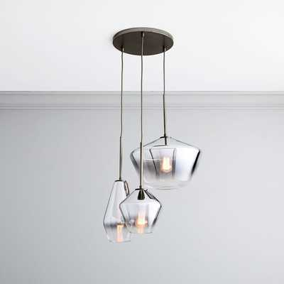 Sculptural Glass 3 Light Round Geo Chandelier, S-M-L Geo, Silver Ombre, Shade, Bronze Canopy - West Elm