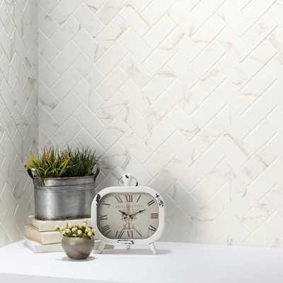 MARAZZI Developed by Nature Calacatta 12 in. x 14 in. x 6 mm Glazed Ceramic Herringbone Mosaic Tile ($11.01 p sq ft/$7.38) - Home Depot