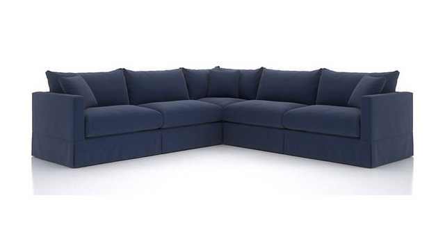 Willow 3-Piece Modern Slipcovered Sectional, Kingston Denim - Crate and Barrel