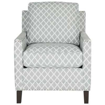 Buckler Gray/White/Espresso (Gray/White/Brown) Polyester Arm Chair - Home Depot