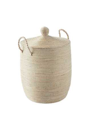 Solid La Jolla Medium Basket - White - Serena and Lily