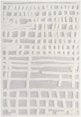 LADDER ABSTRACT PLAID LATTICE 8X10 SHAG AREA RUG IN IVORY AND LIGHT GRAY - Modway Furniture