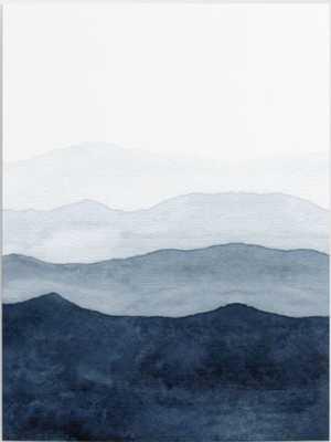 """Indigo Abstract Watercolor Mountains Canvas Print - 18"""" x 24"""" - Society6"""