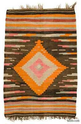 Brown, Multicolor Vintage Mihalic Kilim Rug - Kilim
