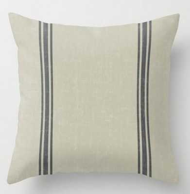 Vintage Country French Grainsack Grey Stripes Linen Color Background Throw Pillow: 20 x 20 - Society6