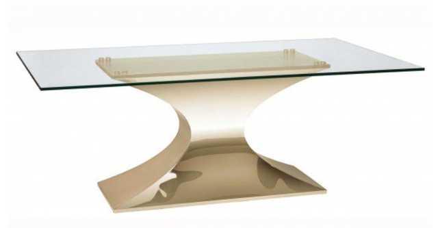 Praetorian Dining Table, Glass/Brushed Gold Base - High Fashion Home