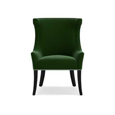 Regency Occasional Chair, Polished Nickel, Signature Velvet, Emerald - Williams Sonoma