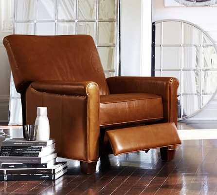 Irving Leather Recliner, Chestnut - Pottery Barn