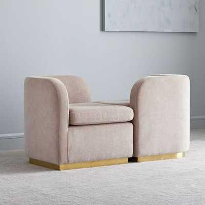 Roar + Rabbit Tete-A-Tete Chair, Set of 2, Distressed Velvet, Light Pink, Antique Brass - West Elm