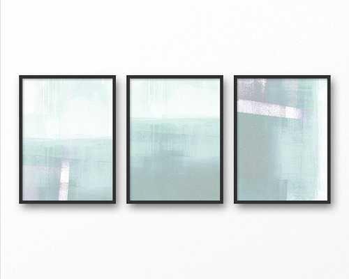 Abstract Seascape Painting Print Set of 3,  Unframed Coastal Wall Decor, Aqua Blue Canvas Art Set - Etsy