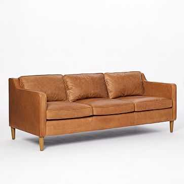 Hamilton Leather 3-Seater Sofa, Burnt Sienna - West Elm