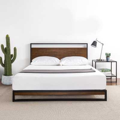 Pauletta Metal and Wood Platform Bed, Queen - Wayfair