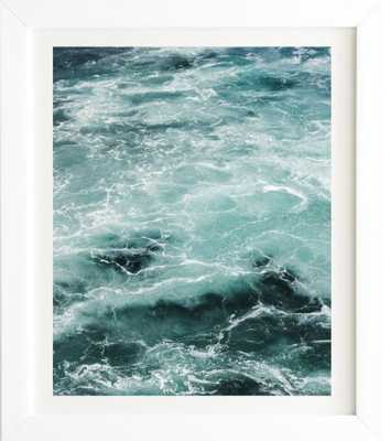TURQUOISE SEA White Framed Wall Art - Wander Print Co.