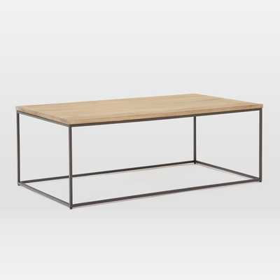 Streamline Coffee Table, Whitewash, Antique Bronze - West Elm