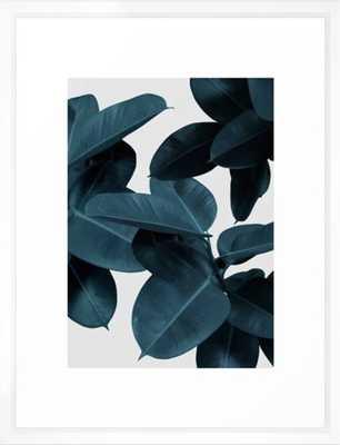 """Indigo Plant Leaves Framed Art Print - Vector White - 20"""" x 26"""" - Society6"""