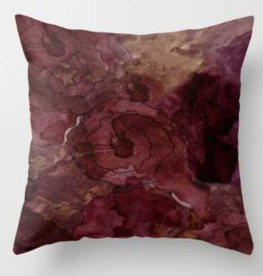 Rose, Burgundy and Merlot Watercolor Flowers Throw Pillow - Society6