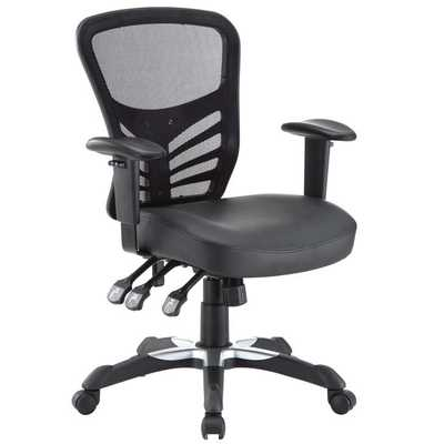 ARTICULATE VINYL OFFICE CHAIR IN BLACK - Modway Furniture