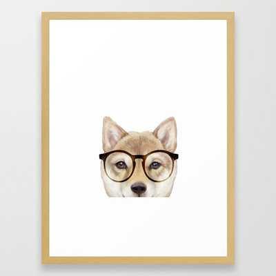 "Shiba inu with glasses Dog illustration original painting print Framed Art Print- FRAME Conservation Natural- SIZE Medium (gallery) - 20"" X 26"" - Society6"