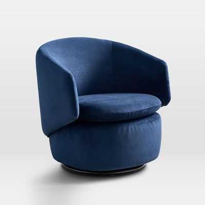 Crescent Swivel Chair, Performance Velvet, Ink Blue - West Elm