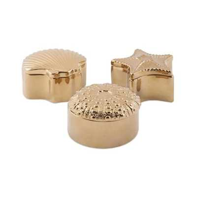 Petra Gold Ceramic Shell Boxes - Ast 3 - Mercer Collection