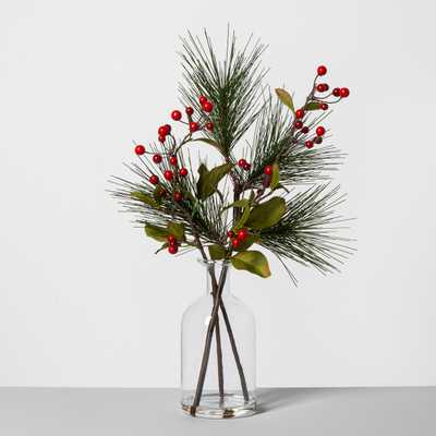 Pine Red Berry Glass Bottle Arrangement - Hearth & Hand™ with Magnolia - Target