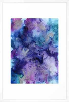 Abstract Watercolor Coastal, Indigo, Blue, Purple Framed Art Print - Vector White - Large 26 x 38 - Society6