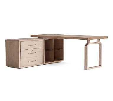 """Danielle L Desk With Lateral File Cabinet (Lateral File, Open Shelf, Desk Base, 74"""" Desk Top) - Pottery Barn"""