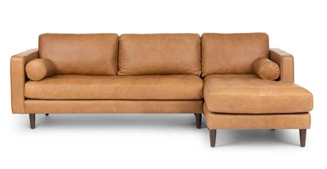 Sven Charme Tan Right Sectional Sofa - Article