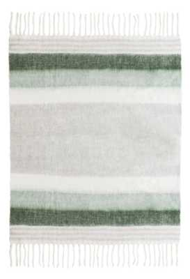 Harper Wool Green/White Throw - Maren Home