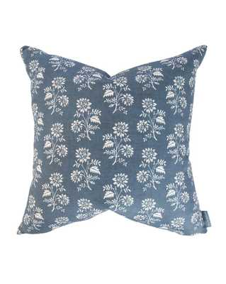 """CAMILLE NAVY FLORAL PILLOW WITHOUT INSERT, 20"""" x 20"""" - McGee & Co."""