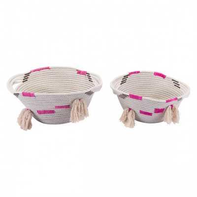 Benin Set Of 2 Baskets With Handles - Zuri Studios