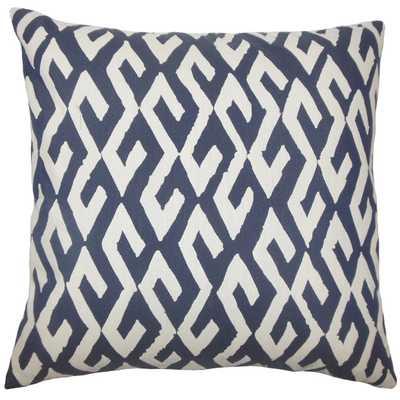"Yasunari Geometric Pillow Indigo - 20"" x 20"" - down insert - Linen & Seam"