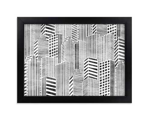 "Linear city 7"" x 5""- Black wood frame - Minted"