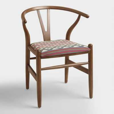 Donnan Wishbone Armchair with Upholstered Seat: Brown/Multi - Fabric by World Market - World Market/Cost Plus