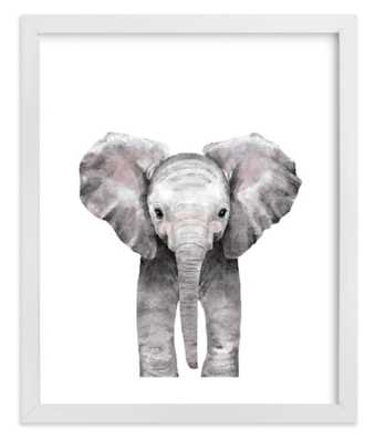"""Baby Animal Elephant, 8""""x 10"""", White Wood frame - Minted"""