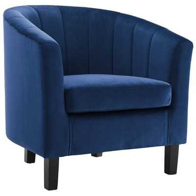 PROSPECT CHANNEL TUFTED UPHOLSTERED VELVET ARMCHAIR IN NAVY - Modway Furniture