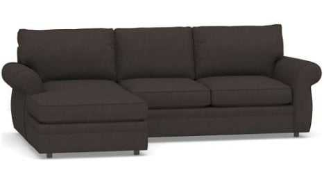 PEARCE ROLL ARM UPHOLSTERED RIGHT SOFA WITH CHAISE SECTIONAL, DOWN BLEND WRAPPED CUSHIONS, PREMIUM PERFORMANCE BASKETWEAVE CHARCOAL - Pottery Barn