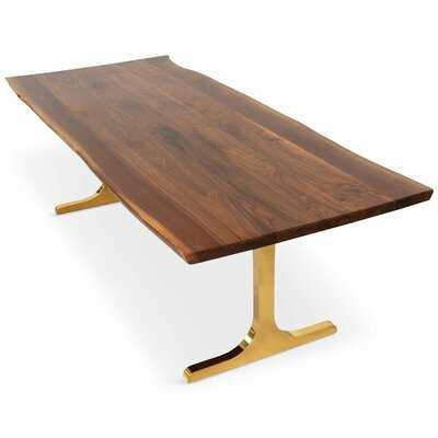 LIVE EDGE OILED SLAB SOLID WOOD DINING TABLE - Perigold