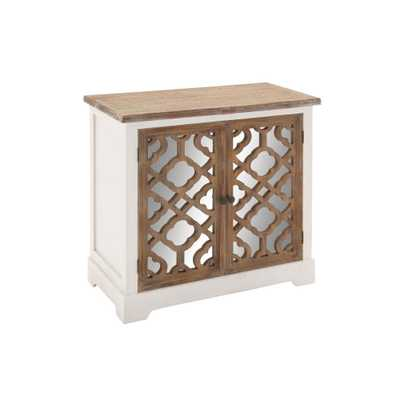 Modern Wood and Mirror Quatrefoil Console Cabinet - Home Depot