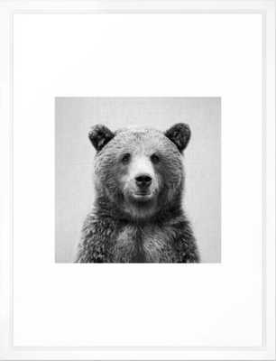 Grizzly Bear - Black & White Framed Art Print - Society6