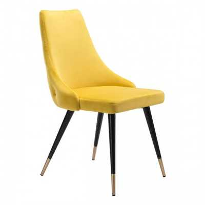 Piccolo Dining Chair Yellow Velvet, Set of 2 - Zuri Studios
