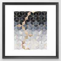 Soft Blue Gradient Cubes Framed Art Print - Society6