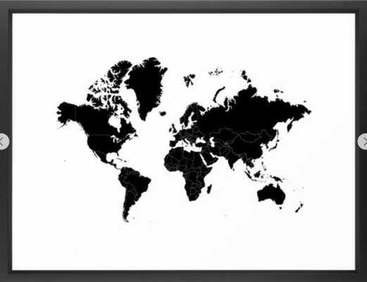 Minimalist World Map Black on White Background Framed Art Print 20 x 26 - Society6
